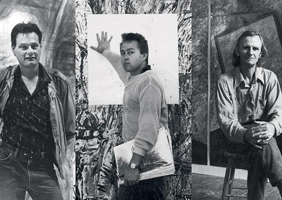 Composite portrait of Mike Parr, Imants Tillers and Ken Unsworth