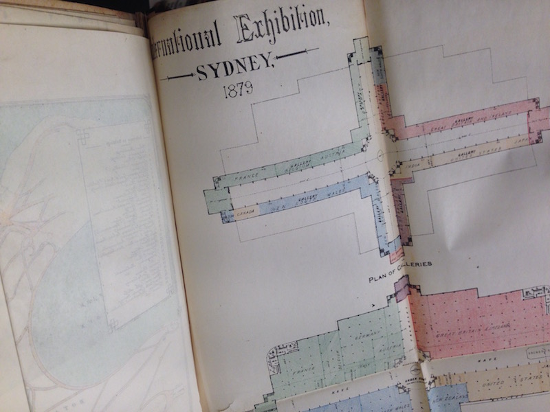 Fold-out map inside the Sydney International Exhibition catalogue, 1879.