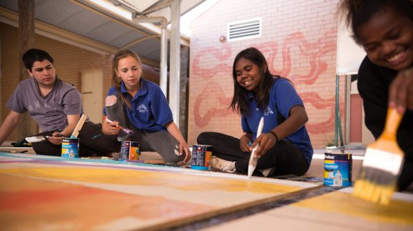 Students from Wilcannia Central School participate in Your Public Art Project, 2019. Photo: Good Chat Creative.